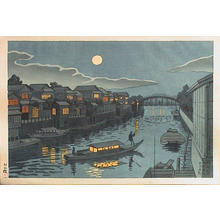 Fujishima Takeji: Yanagibashi Getsumei (Moonlight at Yanagi Bridge) — 柳橋月明 - Japanese Art Open Database