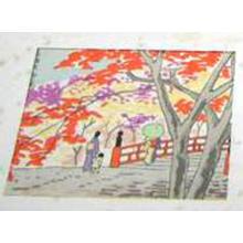 Fujishima Takeji: Bridge in Autumn- koban - Japanese Art Open Database