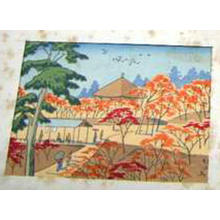 Fujishima Takeji: Temple in Autumn- koban - Japanese Art Open Database