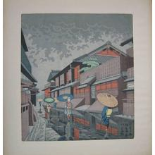Fujishima Takeji: Rain scene - Japanese Art Open Database