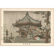 Fujishima Takeji: Nanen-Do Temple in the Rain — 南円堂雨 - Japanese Art Open Database