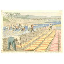 Fujishima Takeji: Drying of Yuzen Material (along the Kamo River) - Japanese Art Open Database