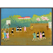 Fujishima Takeji: Girls playing Basketball - Japanese Art Open Database