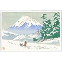 Fujishima Takeji: Mt Fuji and Traveller - Japanese Art Open Database