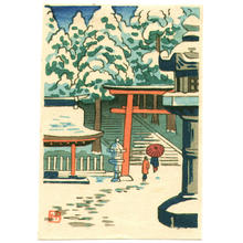 Fujishima Takeji: Temple with lantern and torii gate - Japanese Art Open Database