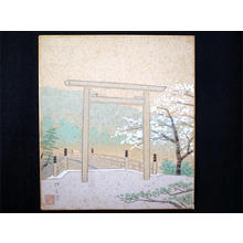 Fujishima Takeji: Torii Gate and Bridge in Spring - Japanese Art Open Database