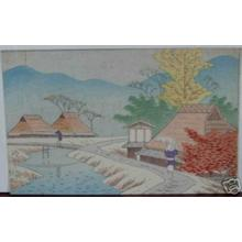 Fujishima Takeji: Unknown village beside stream - Japanese Art Open Database