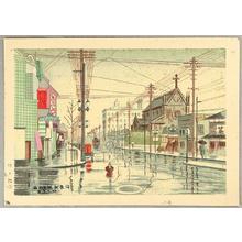 Fujishima Takeji: Dawn Drizzle at Kawaramachi — 河原町明方小雨 - Japanese Art Open Database