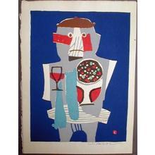 Azechi Umetaro: Unknown - man eating - Japanese Art Open Database