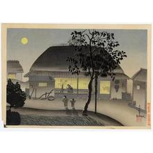 大野麦風: Farmers house, evening - Japanese Art Open Database