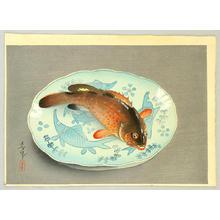 大野麦風: Fish and plate - Japanese Art Open Database