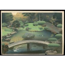 大野麦風: Japanese garden in Autumn - Emperor's Garden 2 — 秋の庭園風景 - Japanese Art Open Database