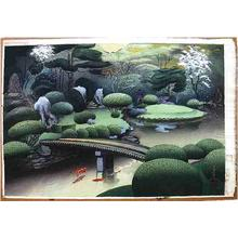 大野麦風: Kurodani Garden in Kyoto- Spring - Japanese Art Open Database