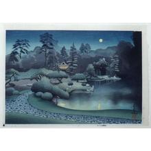 大野麦風: Moonlit garden viewed from behind the shadows of trees - Japanese Art Open Database