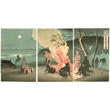 Beisaku Taguchi: Distant View of Fengtianfu- City of Mukden in the Distance — 奉天府遠望 日軍露営之図 - Japanese Art Open Database