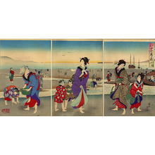 Toyohara Chikanobu: March- Shell seeking - Japanese Art Open Database