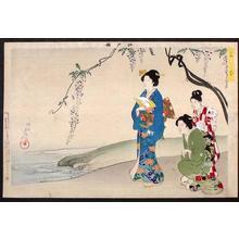Toyohara Chikanobu: Flowers and Pond - Japanese Art Open Database