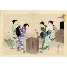 Toyohara Chikanobu: Tango- 5th May- Making rice cake for celebration - Japanese Art Open Database
