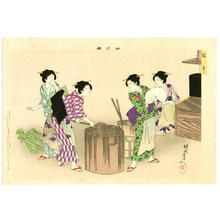 Toyohara Chikanobu: Tango- 5th May- Making rice cake for celebration - Japanese Art Open Database