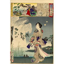 Toyohara Chikanobu: The brave wife of Shinozuka Iga no Kami standing on the bank of a lake - Japanese Art Open Database