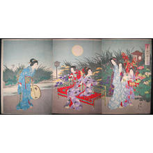 豊原周延: Scene of a Flower Gargen at Night — 園之夜景 - Japanese Art Open Database