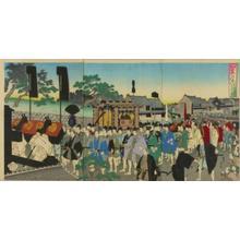豊原周延: A procession of a feudal lord visiting the temple at Ueno — 旧諸侯上野初御仏参之 - Japanese Art Open Database