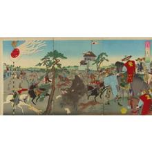 豊原周延: The shogun hunting boar at Koganahara — 旧諸侯上野初御仏参之 - Japanese Art Open Database