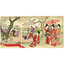Toyohara Chikanobu: Cherry Blossoms Party — Chiyoda Ooku Ohanami - Japanese Art Open Database