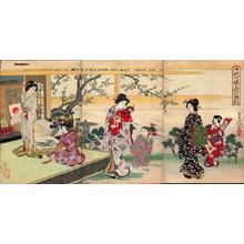 豊原周延: Unknown- bijin child garden spring flower cherry - Japanese Art Open Database