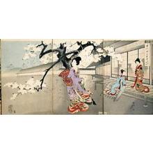 豊原周延: Beauties and Night Blossoms — お庭の夜桜 - Japanese Art Open Database