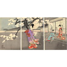 Toyohara Chikanobu: Beauties and Night Blossoms — お庭の夜桜 - Japanese Art Open Database