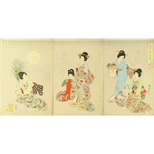 豊原周延: Full Moon in autumn — 月見の宴 - Japanese Art Open Database