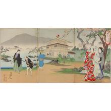 豊原周延: Cherry viewing at Kinkaku Temple — Kinkaku Hanami - Japanese Art Open Database