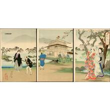 Toyohara Chikanobu: Cherry viewing at Kinkaku Temple — Kinkaku Hanami - Japanese Art Open Database