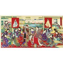 Toyohara Chikanobu: Emperor observing sericulture, — 富貴之春蚕之繁栄 - Japanese Art Open Database