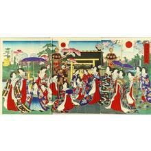 豊原周延: Emperor visiting Yasukuni Shrine - Japanese Art Open Database