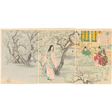 Toyohara Chikanobu: Fujiwara Toshinaris wife viewing plum blossoms - Japanese Art Open Database
