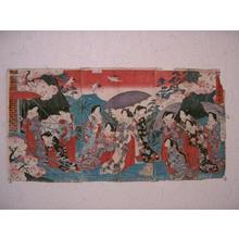 豊原周延: Fukiage Garden Fishing Bridge — 吹上御庭釣橋図 - Japanese Art Open Database