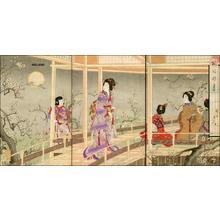 Toyohara Chikanobu: Full Moon among the Plum Trees - Japanese Art Open Database