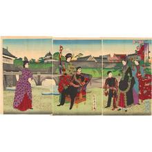 Toyohara Chikanobu: Meiji Emperor Empress Crown Prince and court attendants in Western clothing — Nishimaru Kokyo Shinkei - Japanese Art Open Database