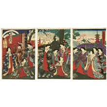 Toyohara Chikanobu: Meiji Emperor Empress and their consorts are visiting the Kinryuzan Temple at Asakusa - Japanese Art Open Database