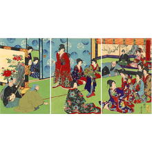 Toyohara Chikanobu: Monkey theatre in the Inner Court - Japanese Art Open Database