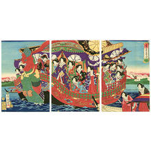 Toyohara Chikanobu: Phoenix Boat and Emperor - Japanese Art Open Database