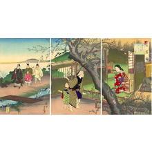 Toyohara Chikanobu: Plum trees in the hut of Uguise — 鶯宿梅 - Japanese Art Open Database