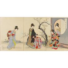 Toyohara Chikanobu: Smell of plum blossoms in the garden — Yomo ni kaoru sono no ume no ka - Japanese Art Open Database