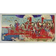 Toyohara Chikanobu: Sunrise View from High Lookout — 高貴楼上日ノ出の図 - Japanese Art Open Database