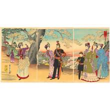 豊原周延: The Emperor, Empress, Crown Prince and court ladies on an outing to Asuka Park - Japanese Art Open Database