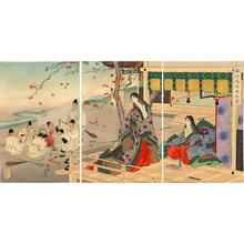 Toyohara Chikanobu: Two court ladies on the balcony of a mountain lodge - Japanese Art Open Database