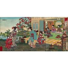 Toyohara Chikanobu: Unknown- bijin child flowers garden pond lantern - Japanese Art Open Database