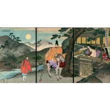 Toyohara Chikanobu: Unknown- horseman playing flute — 弾正小弼中国、嵯峨ニ至 - Japanese Art Open Database